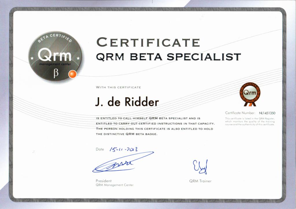 Certificaat QRM Bèta® Specialist