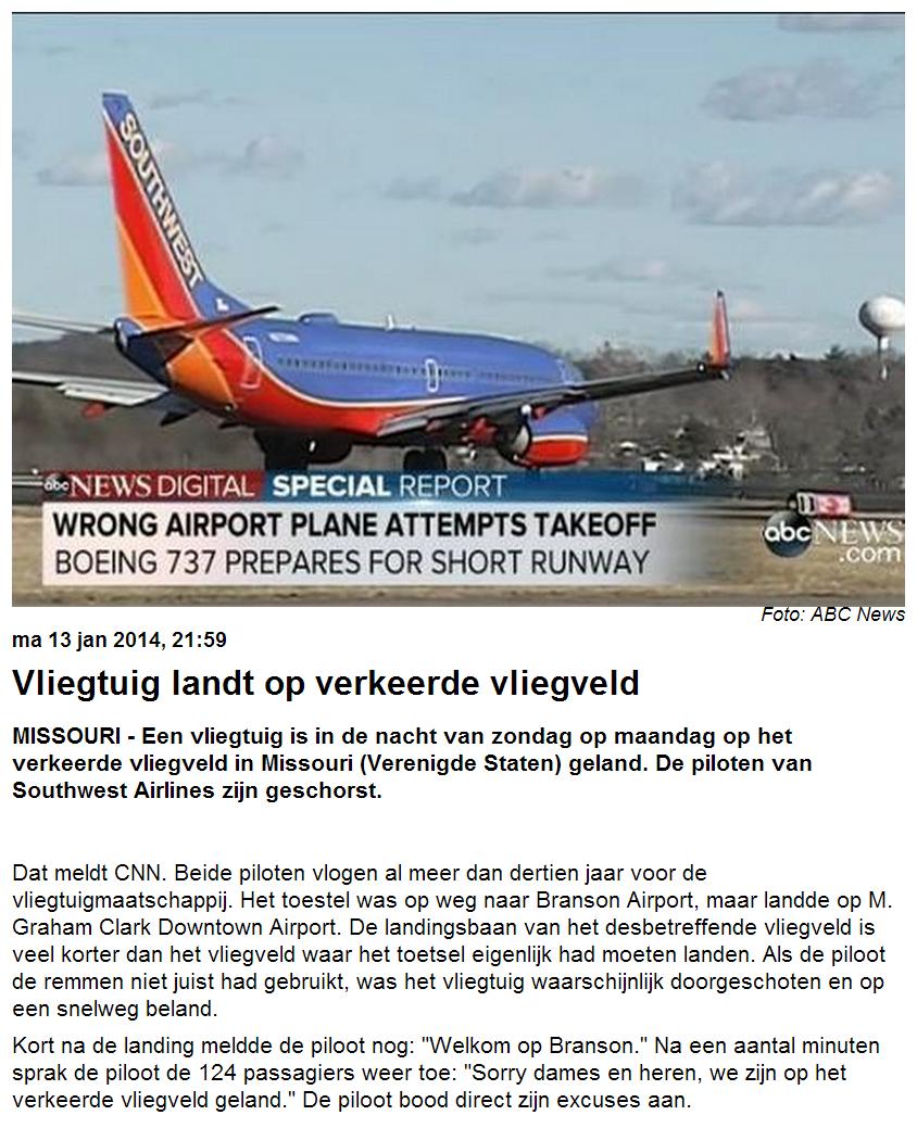 Vliegtuig landt op verkeerde vliegveld